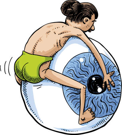 A cartoon hipster with his hair in a bun holds on to and humps a giant eyeball. Illustration
