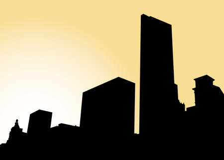 silhouette of a city: Skyline silhouette of the city of Chicago, Illinois, USA.