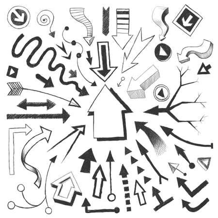A set of pencil sketches of a variety of arrows. Archivio Fotografico