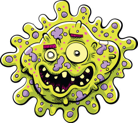 bacteria: A happy cartoon bacteria germ with an ugly, toothy smile.
