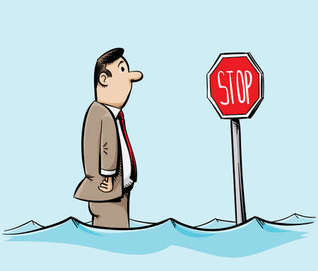 water's: A cartoon man in a suit stands in flood waters and looks at a swamped stop sign.
