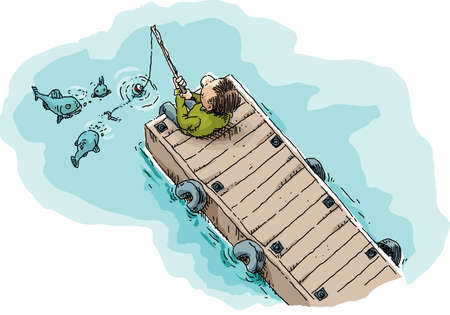 fishhook: Cartoon illustration of a single man sitting and fishing on a long, wood dock showing fish attracted by the worm on the fishhook. Illustration