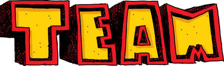blocky: Block, cartoon text of the word team in yellow and red colours.