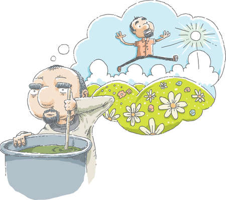 miserable: A cartoon man daydreams about green hills and a sunny day while he works at a dismal, hard job. Illustration