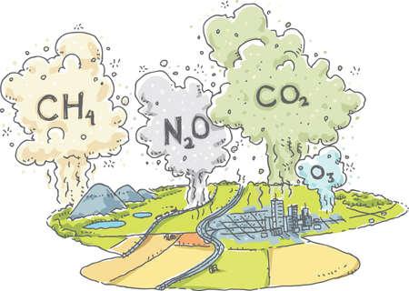 calentamiento global: Un paisaje de la historieta con las nubes de gases de efecto invernadero, como el metano, el óxido nitroso, dióxido de carbono y el ozono, el aumento en la atmósfera.