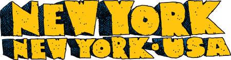 blocky: Heavy cartoon text of the name of the city of New York, New York, USA. Illustration