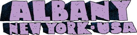 blocky: Heavy cartoon text of the name of the city of Albany, New York, USA.