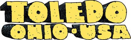 blocky: Heavy cartoon text of the name of the city of Toledo, Ohio, USA.