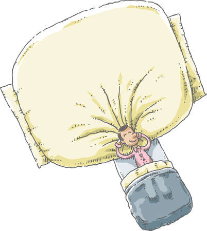 oversized: A cartoon man in his pyjamas lying in a bed and sleeping with his head resting on a giant, over-sized soft pillow. Illustration