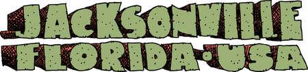 잭슨빌, 플로리다, 미국 도시의 이름의 무거운 만화 텍스트.