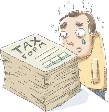 tax form: A cartoon man is sad as he looks at the large size of the tax form he has to complete. Illustration