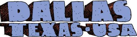 blocky: Heavy cartoon text of the name of the city of Dallas, Texas, USA.