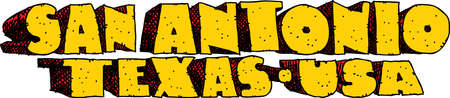blocky: Heavy cartoon text of the name of the city of San Antonio, Texas, USA. Illustration