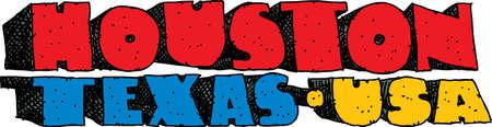 blocky: Heavy cartoon text of the name of the city of Houston, Texas, USA. Illustration