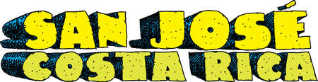 blocky: Heavy cartoon text of the name of the city of San Jose, Costa Rica. Illustration