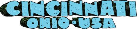 Heavy cartoon text of the name of the city of Cincinnati, Ohio, USA. Vettoriali