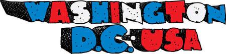 blocky: Heavy, cartoon text of the name of the city of Washington D.C., USA.