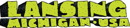 Heavy cartoon text of the name of the city of Lansing, Michigan, USA. Ilustracja