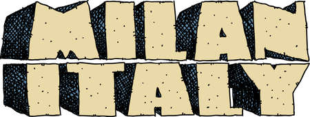 Heavy cartoon text of the name of the city of Milan, Italy.