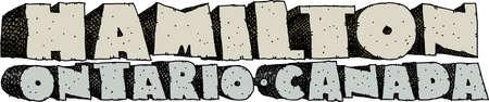 Heavy cartoon text of the name of the city of Hamilton, Ontario, Canada. Vettoriali