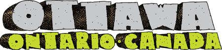 blocky: Heavy cartoon text of the name of the city of Ottawa, Ontario, Canada. Illustration