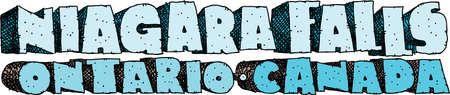 niagara falls city: Heavy cartoon text of the name of the city of Niagara Falls, Ontario, Canada.
