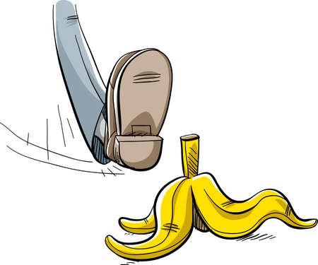 peel: A cartoon foot about to step and slip on a discarded yellow banana peel lying on the ground.