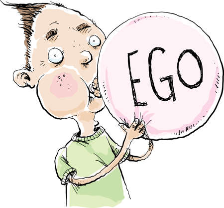 A cartoon man blowing up a balloon with the word EGO printed on it in large letters.
