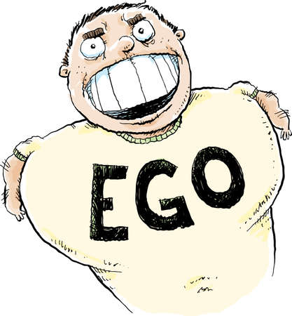A cartoon man with the word EGO printed on his shirt in large, capital letters.