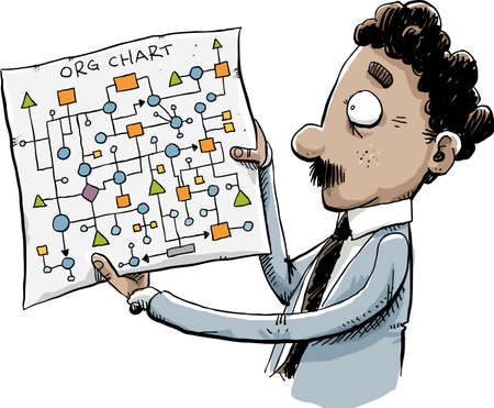 A cartoon office worker man holds a confusing, tangled org chart. Illustration