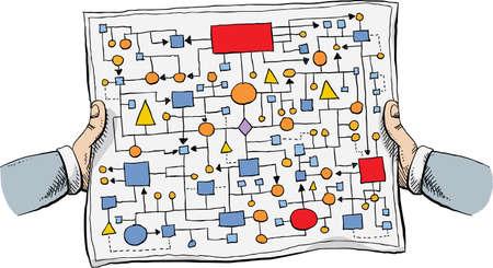 종이에 얽힌 복잡 플로우 차트를 들고 두 팔의 만화.