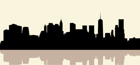 new york skyline: Skyline silhouette of the city of Lower Manhattan, New York, USA.