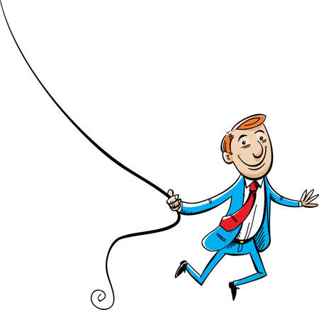 funny guys: A cartoon of a businessman swinging on a thin, black rope.