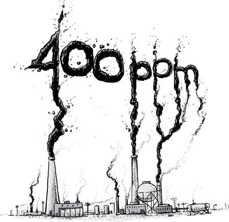 A cartoon showing factories and smokestacks belching smoke pollution into the atmosphere, raising carbon dioxide levels to 400 parts per million.