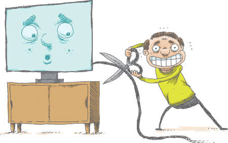 A happy cartoon man prepares to cut his cable tv service cord with a large pair of scissors while a face on the tv reacts with surprise.