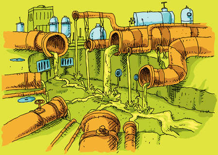 A cluster of cartoon pipes in an industrial area oozing polluted slime sewage into a concrete canal. Illustration