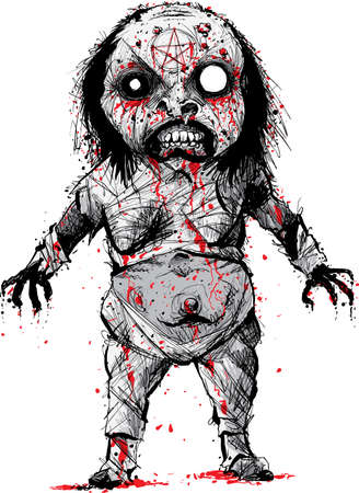 belly bandage: A cartoon character of a bloody, demonic, mummified evil witch rising from the dead. Illustration