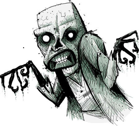 A hungry, spooky, cartoon zombie lurking and decaying. Illustration