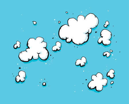 puffy: Cartoon backdrop of a bright, blue sky with puffy, white clouds. Illustration