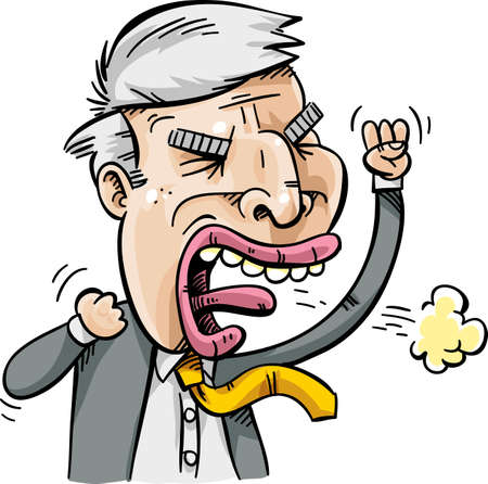 populist: An populist politician man who is angry and spitting steam. Illustration