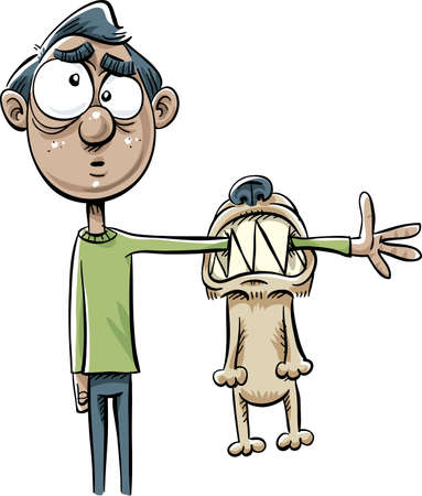 guy standing: A cartoon man reacts with confusion while holding out his arm that has been bit by a dog. Illustration