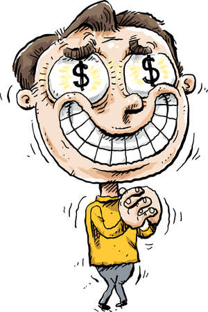 A shaking, smiling cartoon man overwhelmed by greed with dollar signs in his eyes.