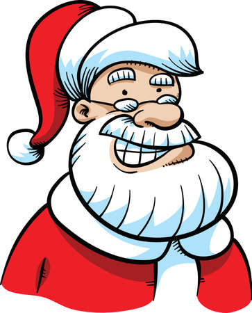 mythological character: A friendly, jolly, cartoon Santa Claus with a happy, smiling grin.