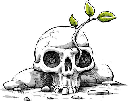 resilient: A fresh, cartoon sapling with green leaves grows from the eye of a weathered skull.