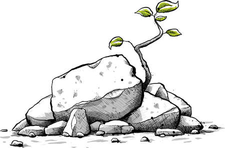 resilient: A fresh, cartoon sapling with green leaves grows from a pile of small jagged rocks.