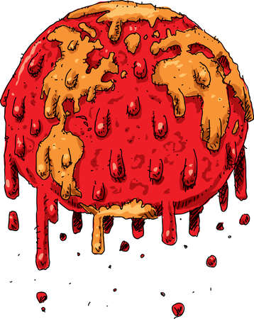 Cartoon of the globe of the Earth dripping and melting because of climate change global warming. Illustration