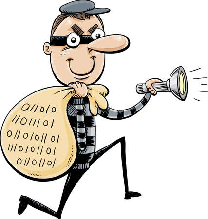 A cartoon of a thief with a sack full of data and holding a flashlight. Illustration
