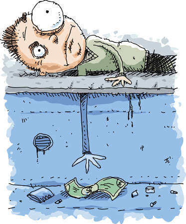 A cartoon man reaching down through a hole on the street to grab some cash money. Çizim