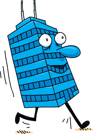 A happy, cartoon office tower character going for a brisk walk.