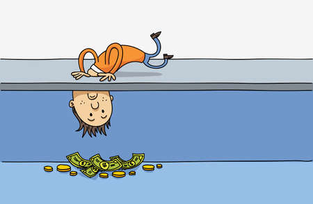Illustration of a cartoon man poking his head down a hole and looking at the money underground. Illustration